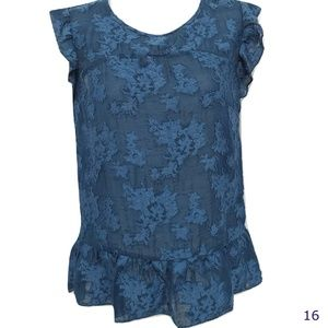 Lauren Conrad Blue Green Burn Out Ruffled Top Size
